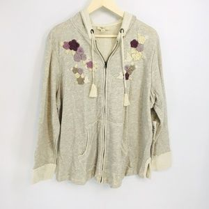Style & Co Embroidered Zip Up Hooded Jacket